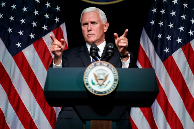 In this file photo, Vice President Mike Pence gestures during an event on the creation of a U. S. Space Force at the Pentagon.