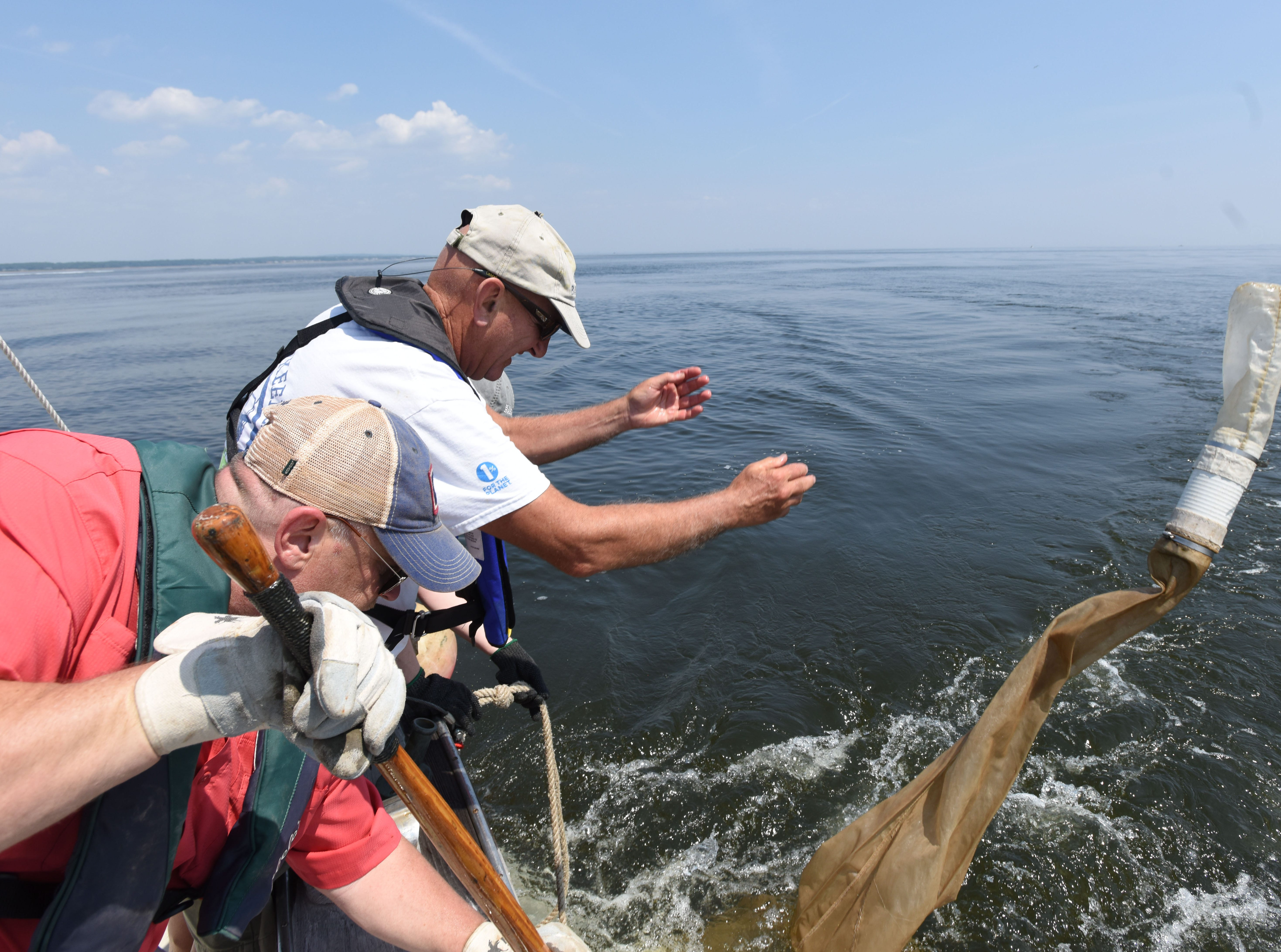 Members of NY/NJ Baykeeper Pete Cangeloso and Greg Remaud launch a devise to collect samples as they trawl the region's waterways to document and quantify how much small plastics are in our rivers and bays.
