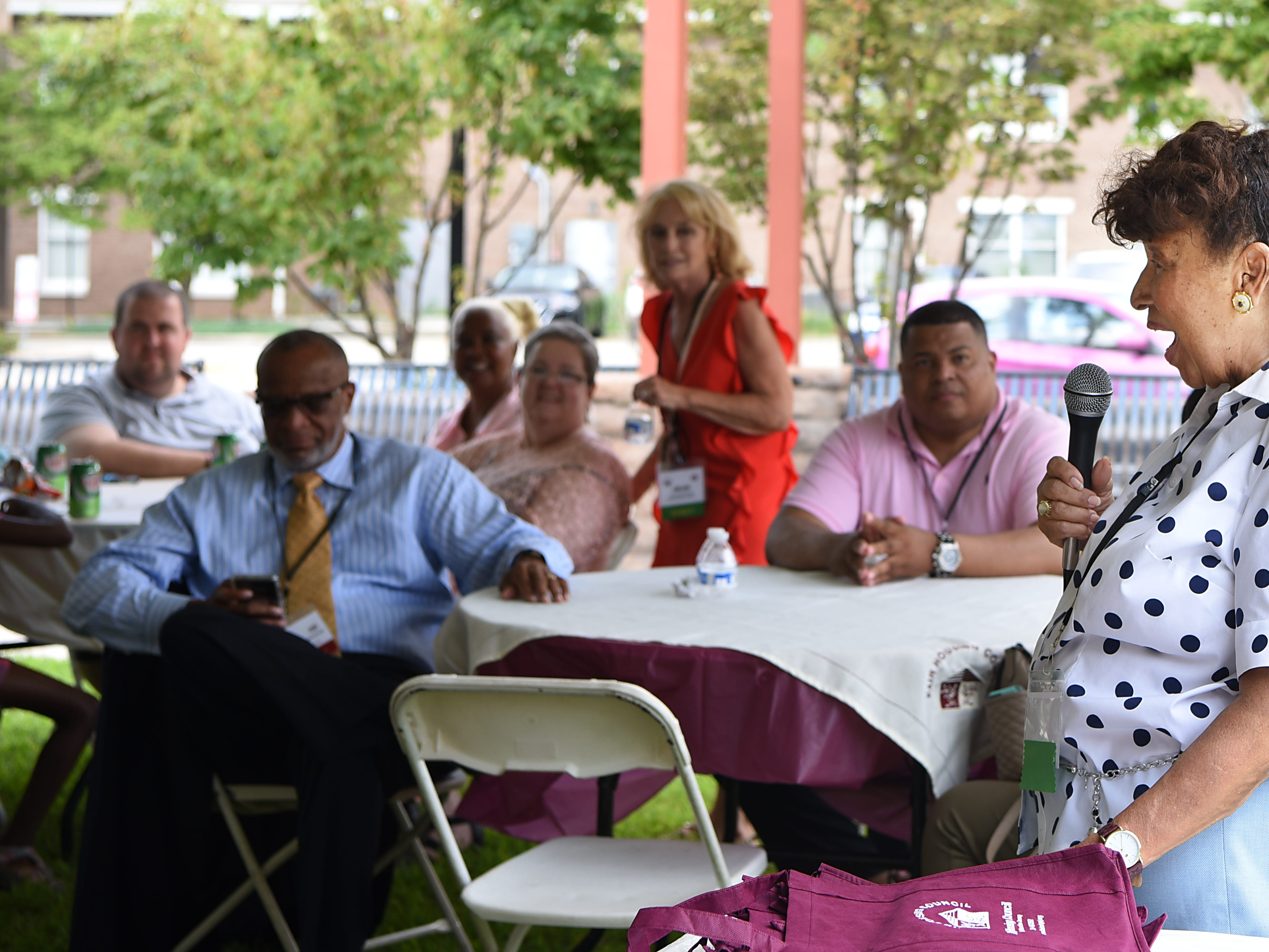 Lee Porter says a few words during the Fair Housing Council of Northern New Jersey picnic in Hackensack on Friday August 10, 2018.