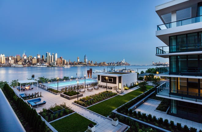 1200 Avenue at Port Imperial enjoys an unobstructed view of Manhattan.
