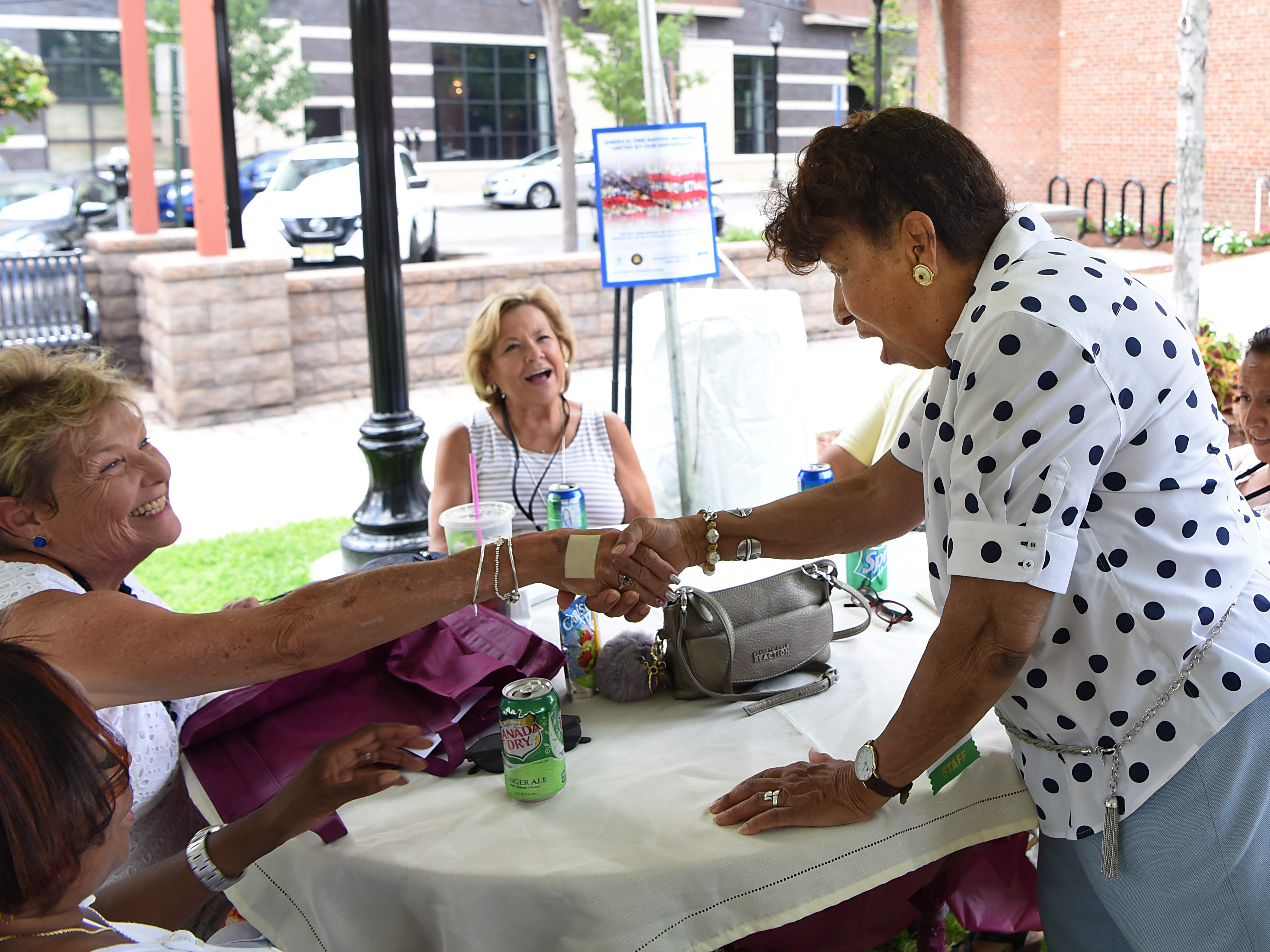 (From left) Roxanne Barreto, Jayne Ace-Bosgra, Sue Paletta, Lee Porter and Adriana Tobar. Fair Housing Council of Northern New Jersey holds a picnic in Hackensack on Friday August 10, 2018.