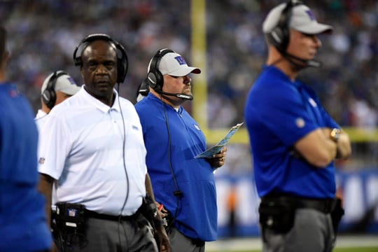 New York Giants defensive coordinator James Bettcher watches as the Giants give up a Cleveland touchdown. The New York Giants face the Cleveland Browns in a preseason game in East Rutherford, NJ on Thursday, Aug. 9, 2018.