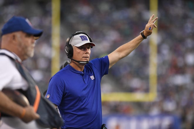 New York Giants head coach Pat Shurmur. The New York Giants face the Cleveland Browns in a preseason game in East Rutherford, NJ on Thursday, August 9, 2018.