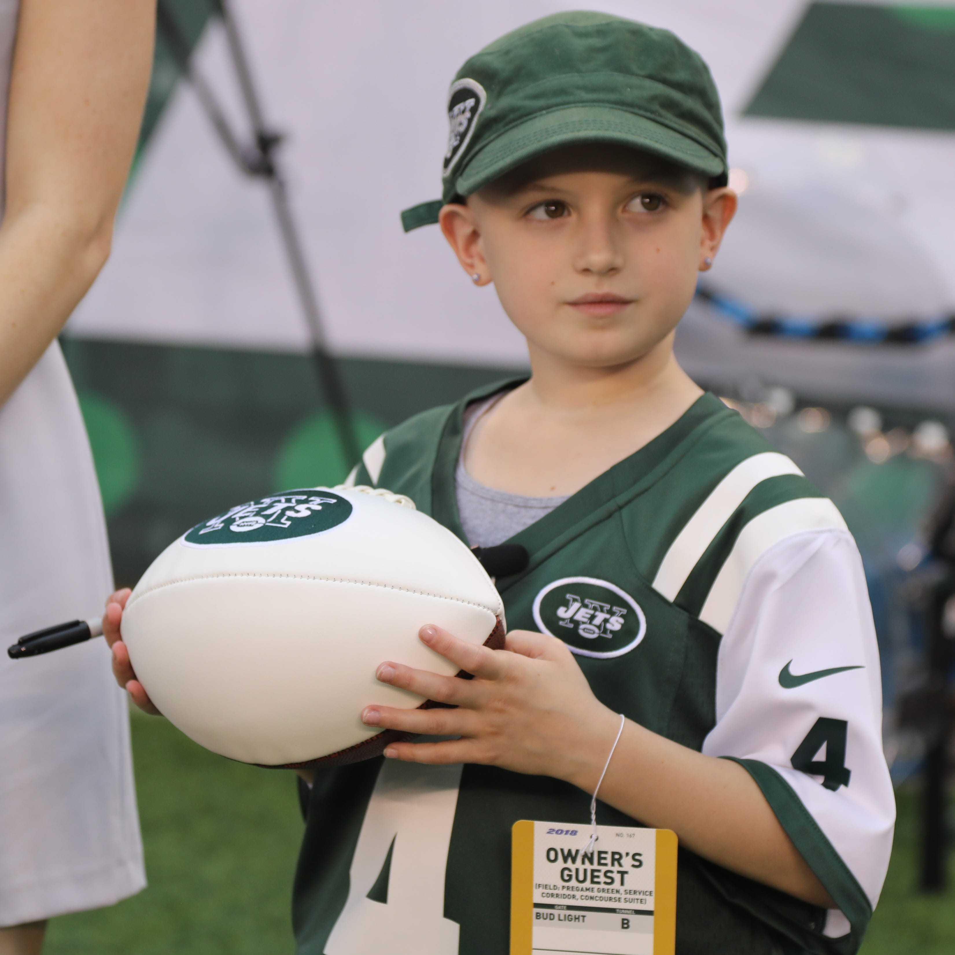 Grace Eline, a 9-year-old with brain cancer, is the NY Jets' honorary captain vs. Falcons