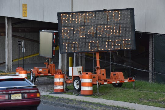 Lane closures on I-495 has not begun in North Bergen on Friday August 10, 2018. An electronic sign posted on the west bound 31st Street ramp notifies drivers that the closures will begin on Friday at 11PM.