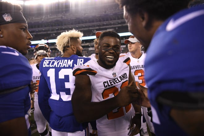 Cleveland Browns defensive back Jabrill Peppers (22) on the field after the game. The Cleveland Browns defeated the New York Giants 20-10 in East Rutherford, NJ on Thursday, August 9, 2018.