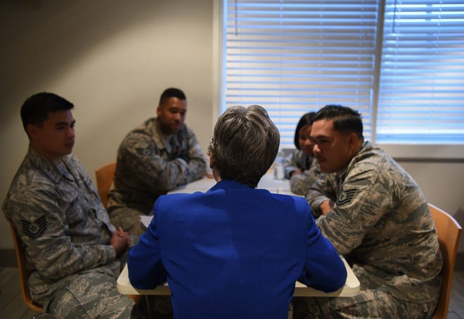 Secretary of the Air Force Heather Wilson speaks to Airmen during breakfast about life at F.E. Warren Air Force Base and their career within the military Aug. 8, 2018 at F.E. Warren AFB, Wyo. Wilson was able to speak with several groups of Airmen during the breakfast and provided insight to the rumored changes regionally and nationally impacting the Air Force. Wilson visited F.E. Warren AFB to emphasize the importance of the 90th Missile Wing's deterrence mission and to thank the Airmen for ensuring the mission is accomplished safely, securely and effectively every day.