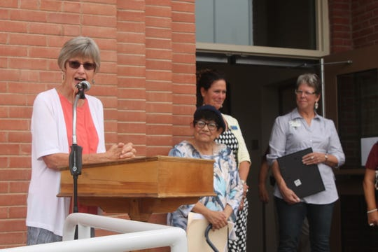 "Linda Lyle spoke to friends and former colleagues at the ribbon-cutting on Friday afternoon. ""I hope that when you come into this building – that awkwardly has my name on it – that you will remember that we built something really good together,"" she said."