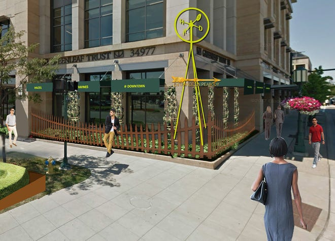 Artist's rendering of the corner of Maple and Woodward, the location of Hazel, ravines, and Downtown.