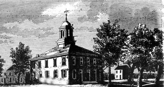 A drawing of the St. Landry Parish Courthouse as it appeared during the 1850s in downtown Opelousas.