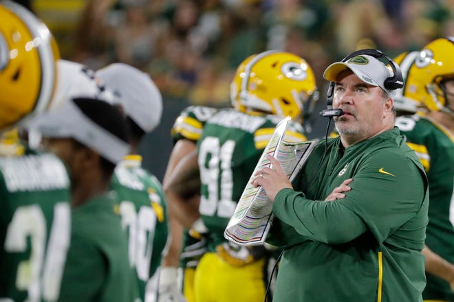 Green Bay Packers head coach Mike McCarthy looks up at the video board during an NFL preseason game at Lambeau Field on Thursday, August 9, 2018 in Green Bay, Wis. Adam Wesley/USA TODAY NETWORK-Wisconsin