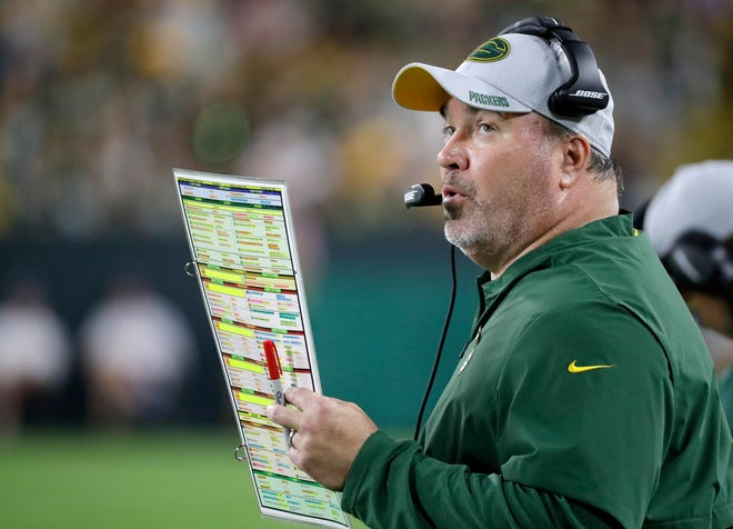 Green Bay Packers head coach Mike McCarthy during an NFL preseason game at Lambeau Field on Thursday, August 9, 2018 in Green Bay, Wis. Adam Wesley/USA TODAY NETWORK-Wisconsin