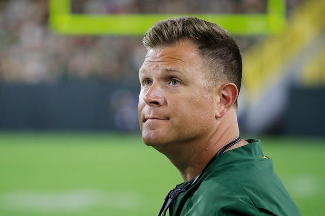 Green Bay Packers GM Brian Gutekunst watches from the sideline during an NFL preseason game at Lambeau Field on Thursday, August 9, 2018 in Green Bay, Wis. Adam Wesley/USA TODAY NETWORK-Wisconsin