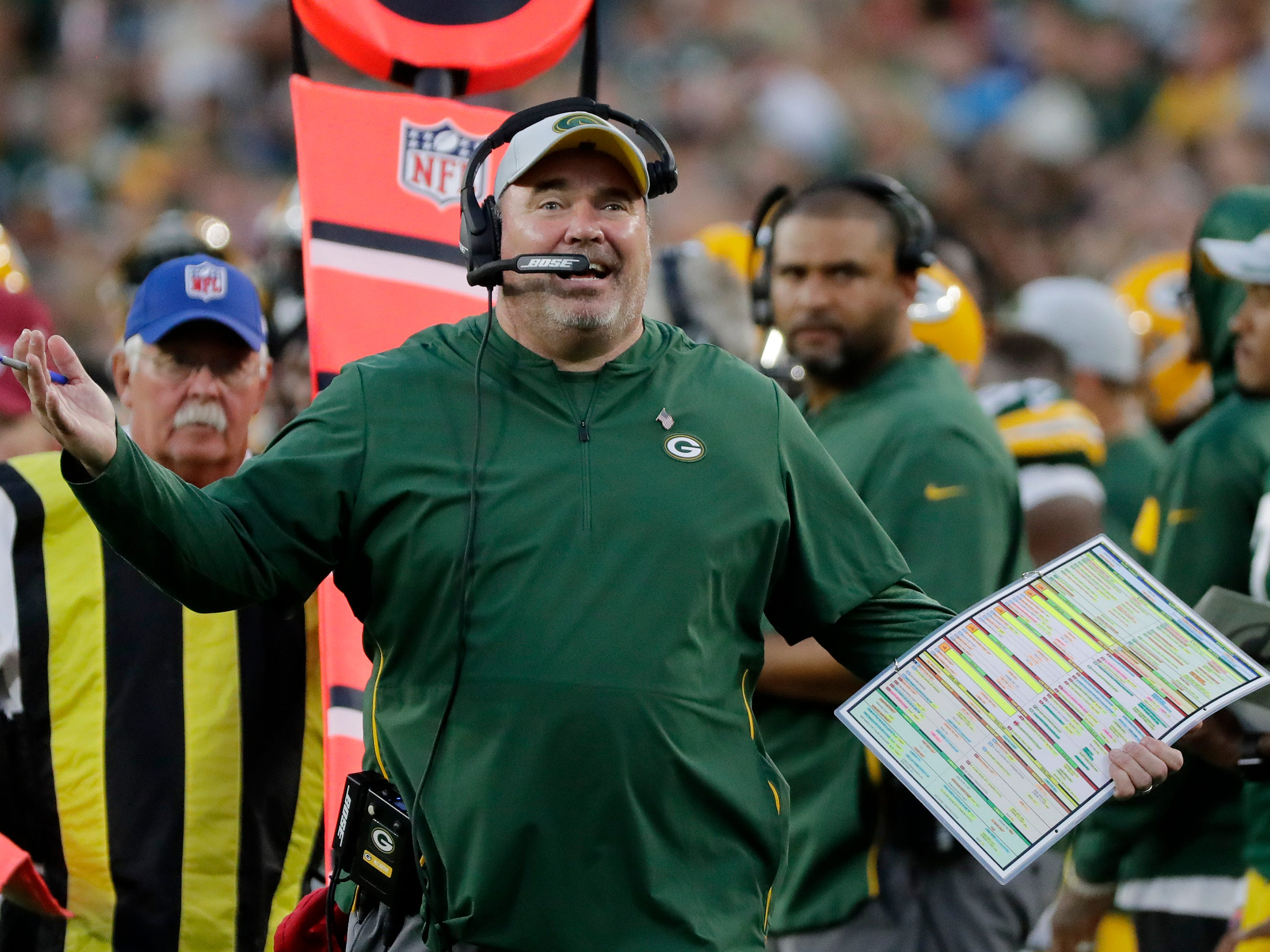 Green Bay Packers head coach Mike McCarthy reacts on the sideline during an NFL preseason game at Lambeau Field on Thursday, August 9, 2018 in Green Bay, Wis.