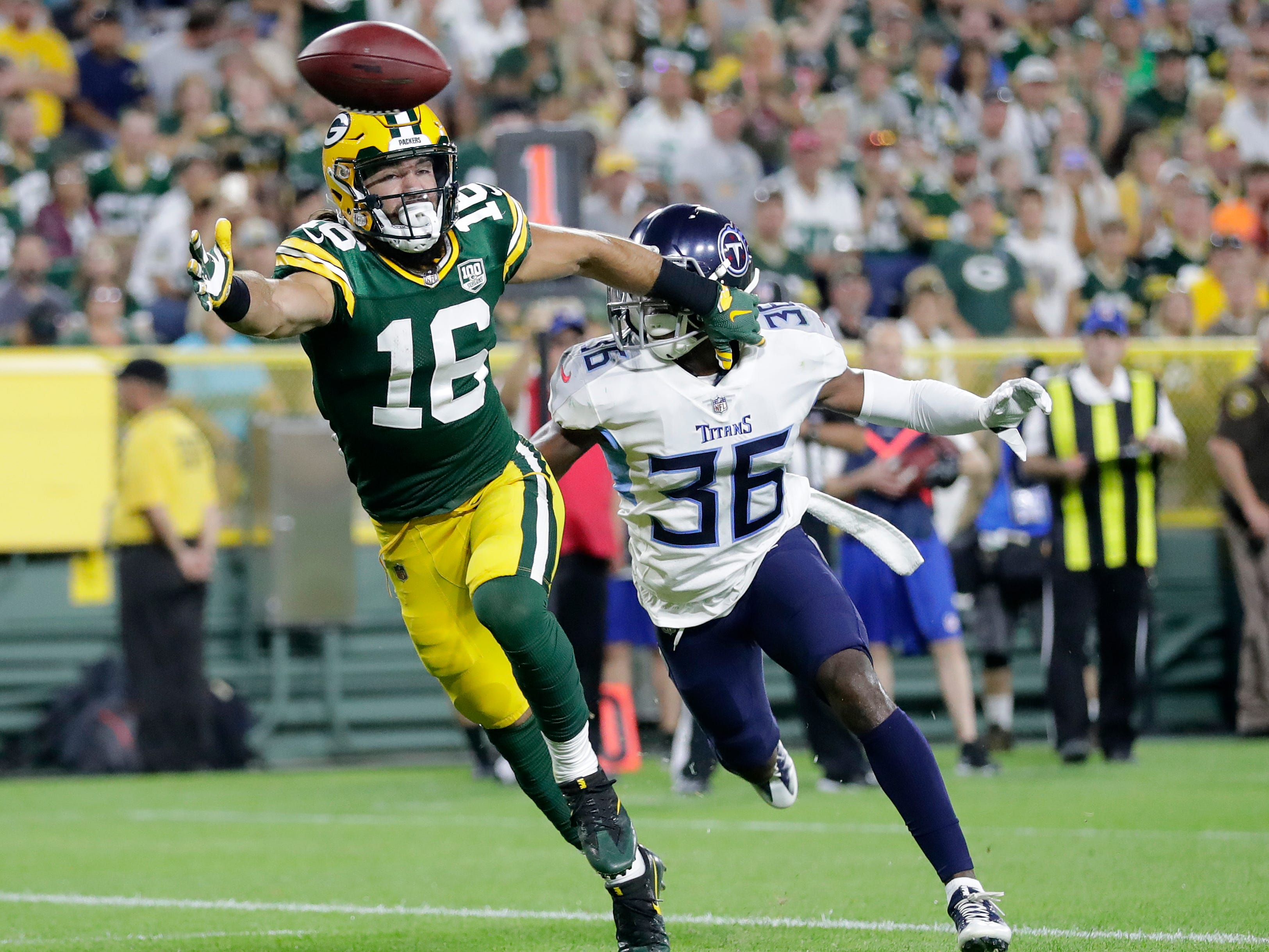 Green Bay Packers wide receiver Jake Kumerow (16) stretches in an attempt to reach a pass in the first half against the Tennessee Titans of a NFL preseason game at Lambeau Field on Thursday, August 9, 2018 in Green Bay, Wis.