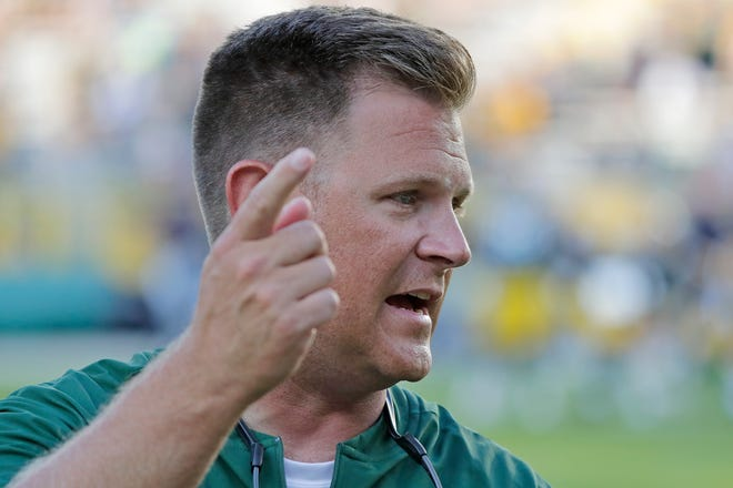 Green Bay Packers GM Brian Gutekunst talks to coaches at an NFL preseason game at Lambeau Field on Thursday, August 9, 2018 in Green Bay, Wis. Adam Wesley/USA TODAY NETWORK-Wisconsin