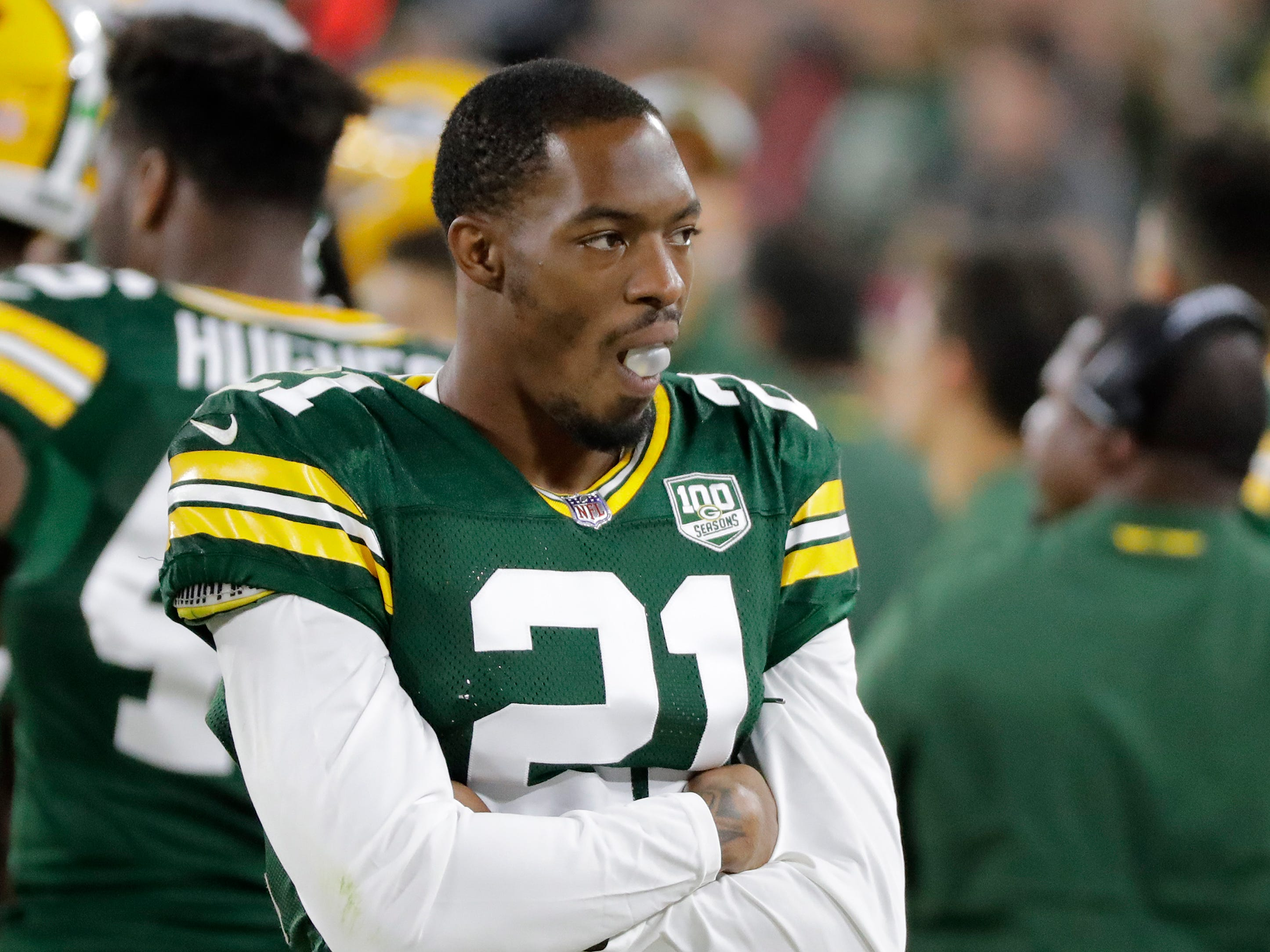 Green Bay Packers defensive back Ha Ha Clinton-Dix (21) chews gum on the sideline during an NFL preseason game at Lambeau Field on Thursday, August 9, 2018 in Green Bay, Wis.