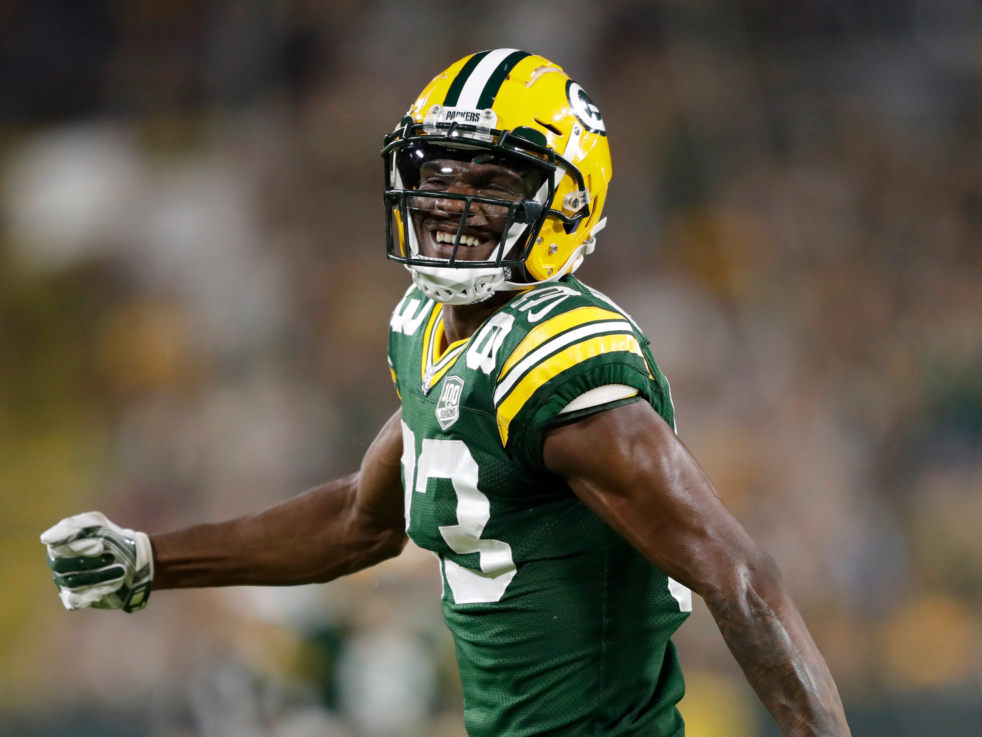 Green Bay Packers wide receiver Marquez Valdes-Scantling (83) celebrates a long reception in the third quarter against the Tennessee Titans during their football game Thursday, August 9, 2018, at Lambeau Field in Green Bay, Wis.