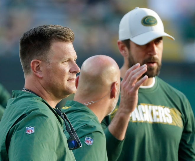 Green Bay Packers GM Brian Gutekunst watches warmups at an NFL preseason game at Lambeau Field on Thursday, August 9, 2018 in Green Bay, Wis. 