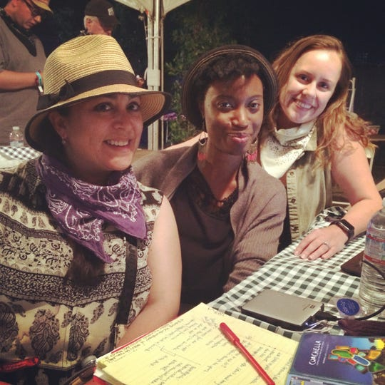 (L to R) Xochitl Pena, Ashley Hopkinson and Sarah Day Owen covering one of the Coachella Valley Music and Arts Festivals.
