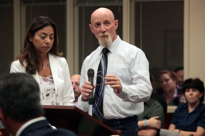 Ron Friedli asks for life imprisonment for Robert Pape and Cristin Smith for the murder of his daughter Becky Friedli and her mother and mother's boyfriend in 2006, during the sentencing hearing for the Pinyon Pines murder case on Friday, August 10, 2018 at the Riverside Hall of Justice.