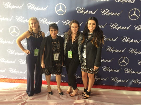 (L to R) Anna Rumer, Xochitl Pena, Corinne Kennedy and Denise Figueroa getting ready to cover the red carpet at the Palm Springs International Film Festival.