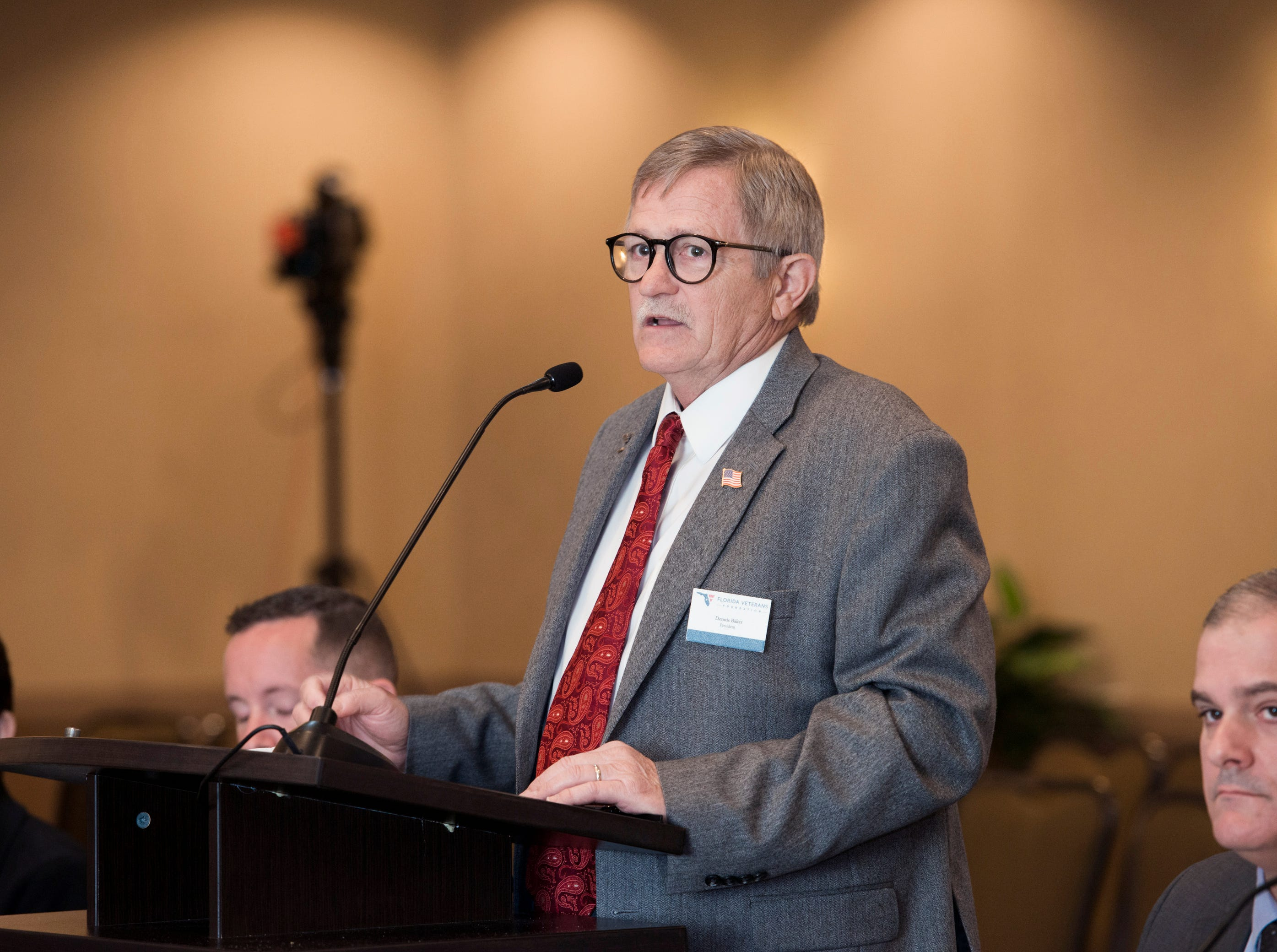 Florida Veterans Foundation president Dennis Baker speaks as the Florida Commission on Access to Civil Justice discusses veterans issues at the Hilton Garden Inn in Pensacola on Friday, August 10, 2018.