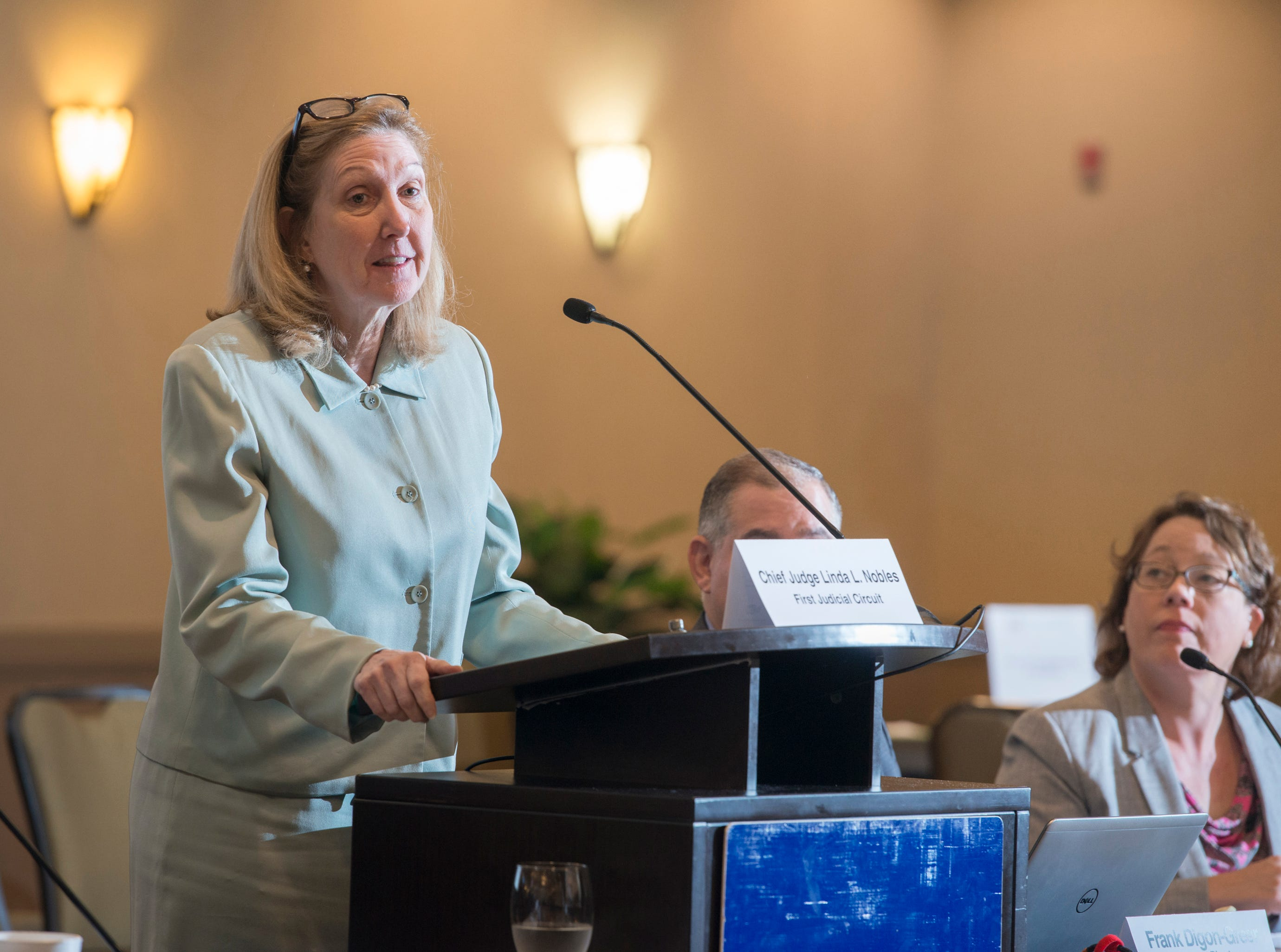First Judicial Circuit chief judge Linda Nobles speaks as the Florida Commission on Access to Civil Justice discusses veterans issues at the Hilton Garden Inn in Pensacola on Friday, August 10, 2018.
