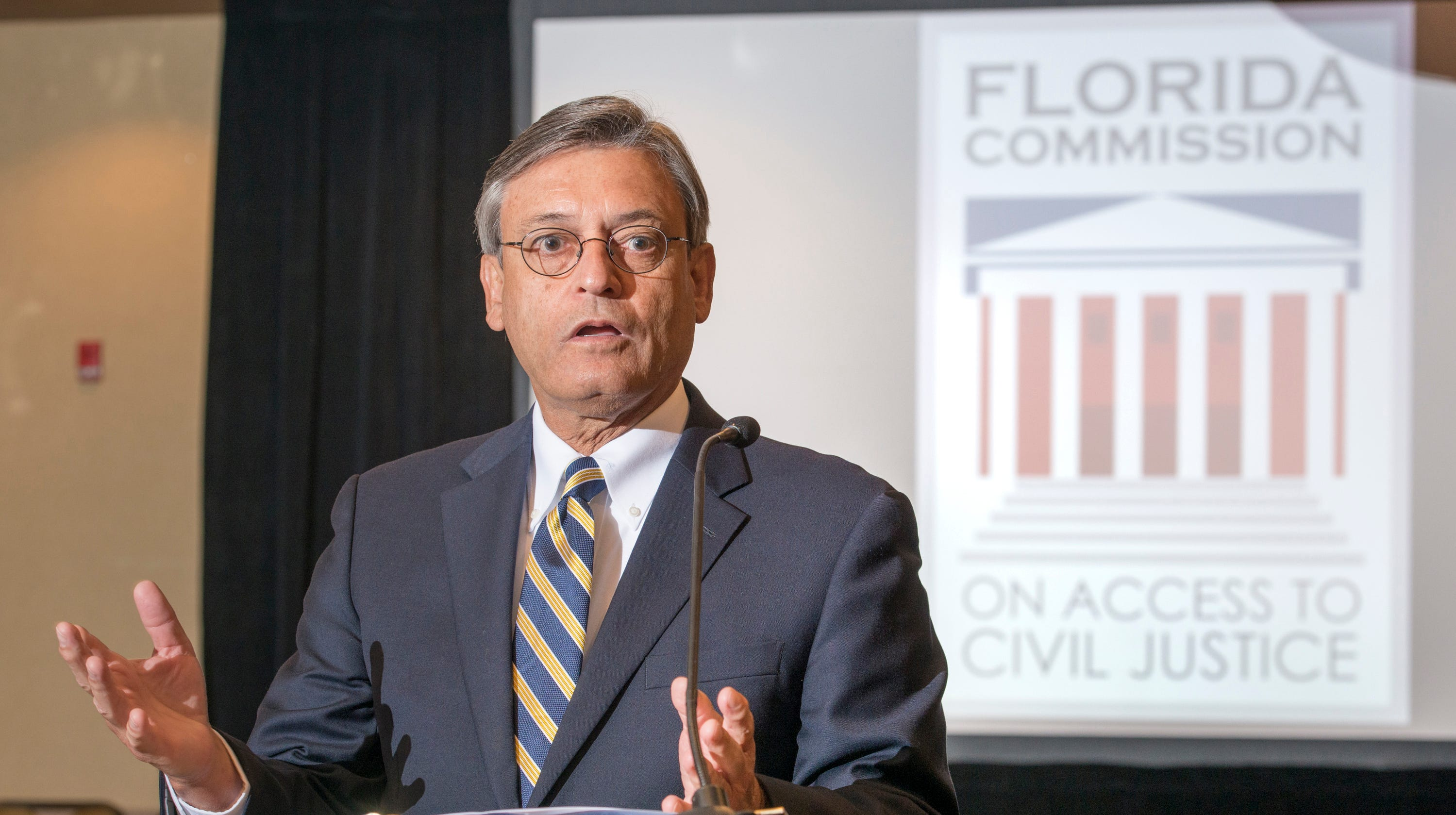Supreme Court of Florida justice Jorge Labarga speaks as the Florida Commission on Access to Civil Justice discusses veterans issues at the Hilton Garden Inn in Pensacola on Friday, August 10, 2018.