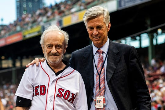 Roland Hemond (left) visits with Boston Red Sox President of Baseball Operations Dave Dombrowski at Fenway Park, Boston, on Aug. 2, 2018.