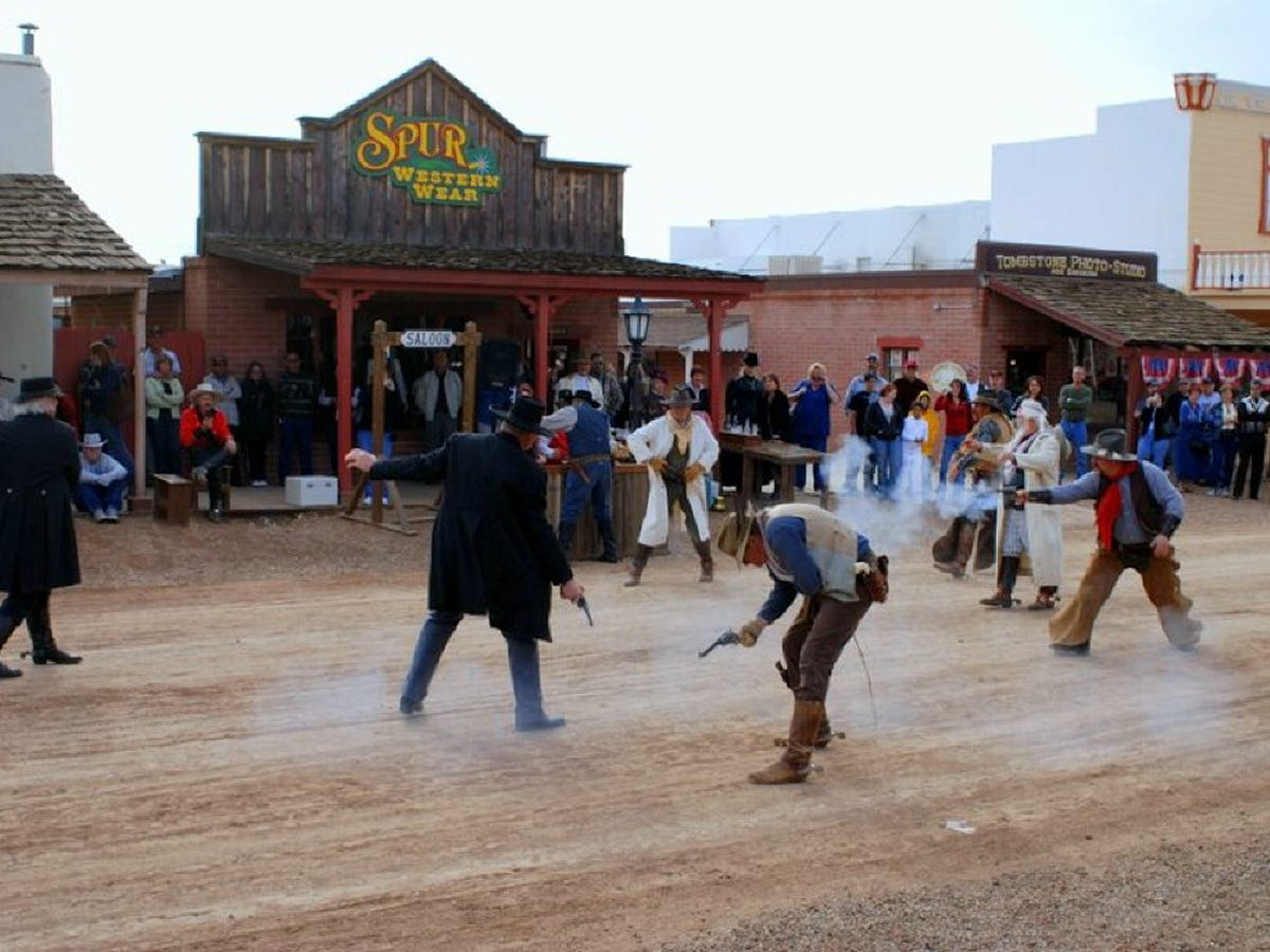 Tourists now flock each year to Helldorado Days, Tombstone's  salute to its rowdy past.  Gunfights remain among the most popular events.