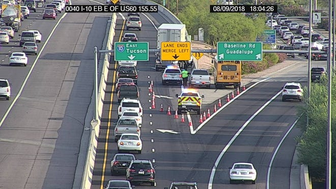 A Tempe school bus was involved in a crash on Interstate 10 on Aug. 9, 2018.