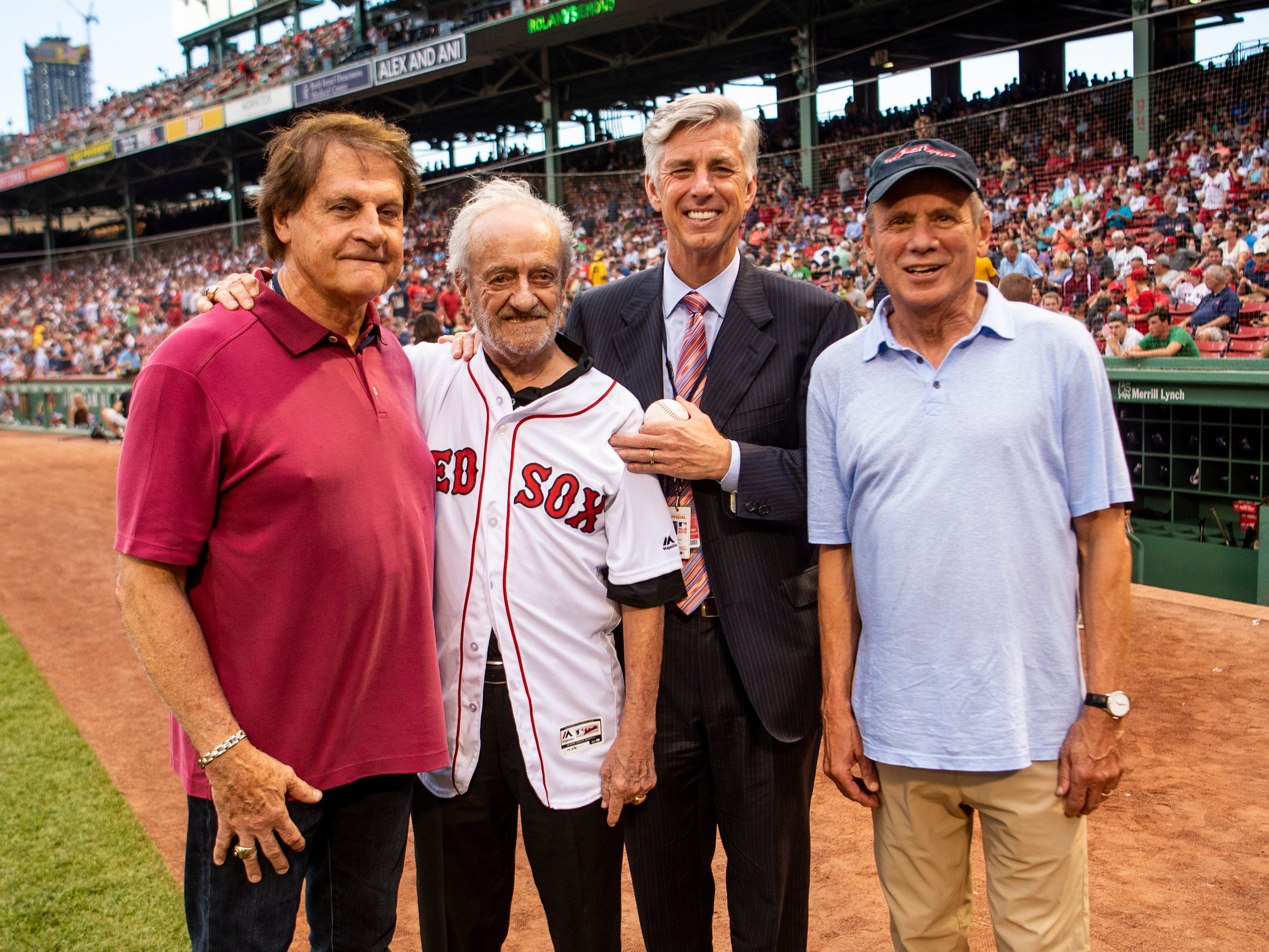 BOSTON, MA - AUGUST 2: Major League Baseball Executive Roland Hemond poses for a photograph with Boston Red Sox Special Assistant Tony La Russa, President of Baseball Operations Dave Dombrowski and President & CEO Emeritus Larry Lucchino before throwing out the ceremonial first pitch before a game between the Boston Red Sox and the New York Yankees on August 2, 2018 at Fenway Park in Boston, Massachusetts. (Photo by Billie Weiss/Boston Red Sox/Getty Images) *** Local Caption *** Roland Hemond; Tony La Russa; Larry Lucchino; Dave Dombrowski