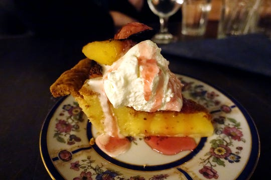 Vinegar pie with peaches and cream at Cotton & Copper in Tempe.