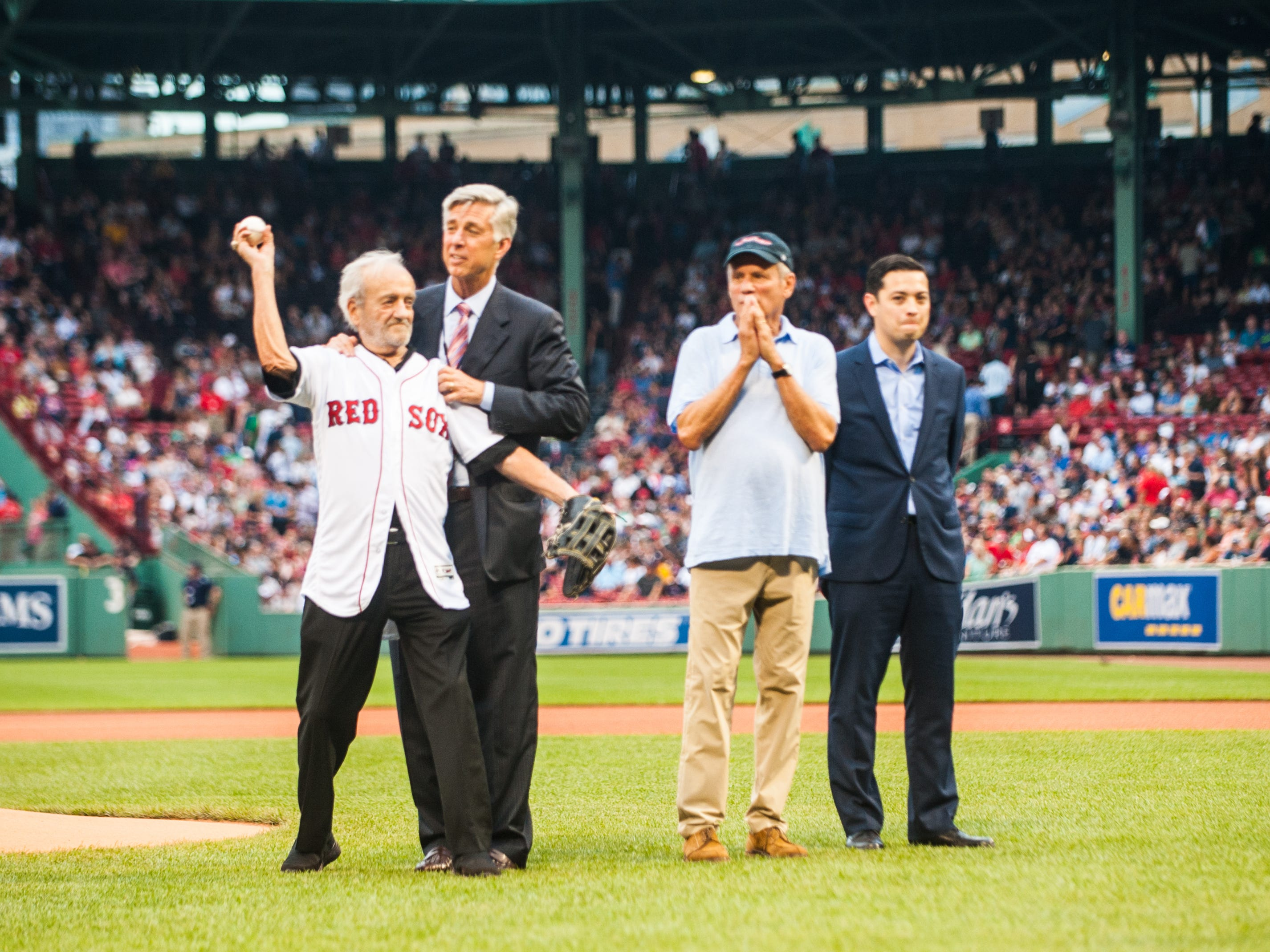August 2, 2018, Boston, MA: Major League Baseball executive Roland Hemond throws the Ceremonial First Pitch at Fenway Park in Boston, Massachusetts Thursday, August 2, 2018.  (Photo by Reginald Thomas II/Boston Red Sox)