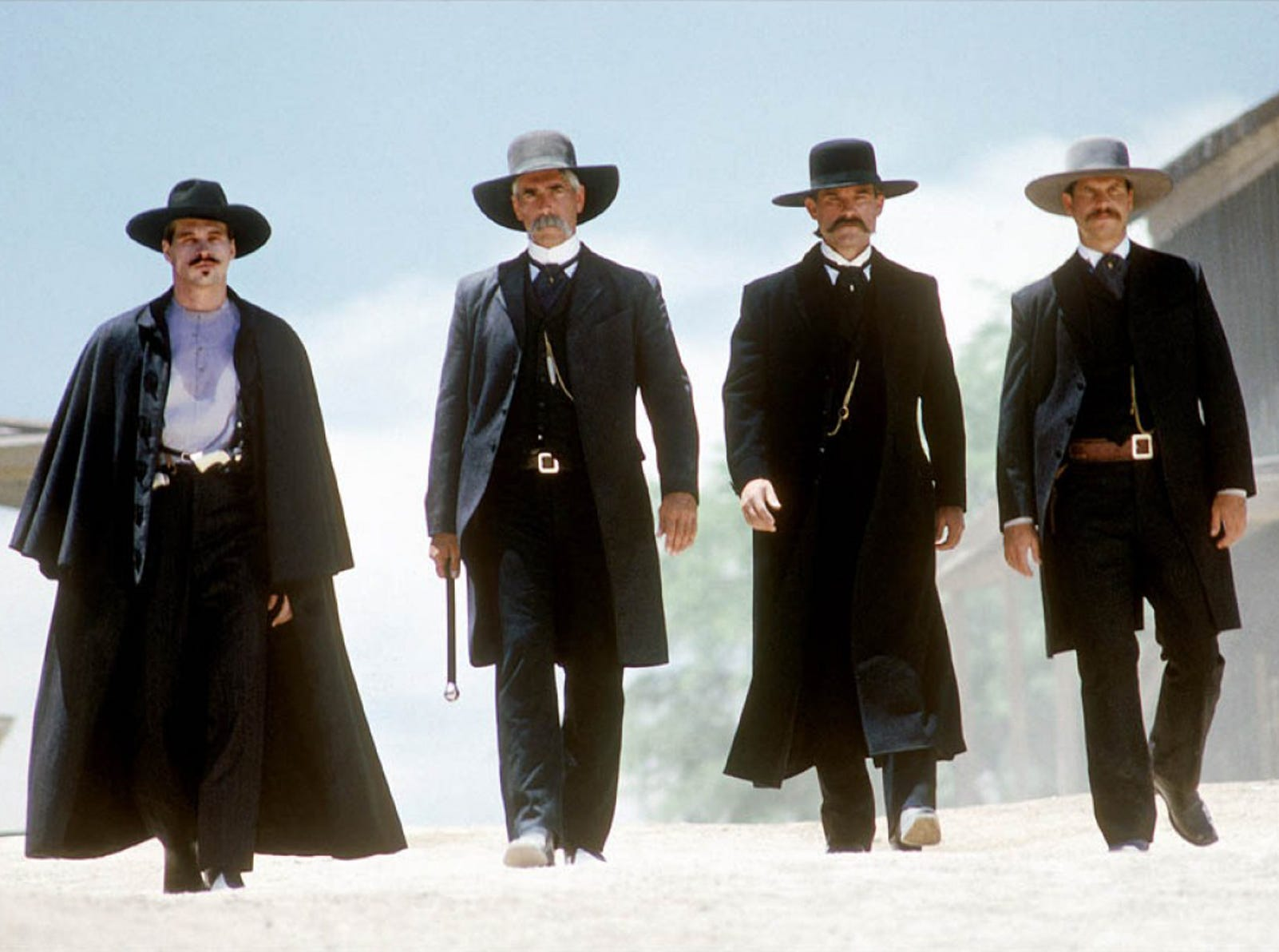 "One of the more accurate retellings of the Gunfight at OK Corral was the 1993 film ""Tombstone,"" starring (left to right)  Val Kilmer as Doc Holliday, Sam Elliott as Virgil Earp, Kurt Russell as Wyatt Earp and Bill Paxton as Morgan Earp."