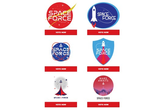 """President Donald Trump's campaign sent out an email asking supporters to vote for a """"Space Force"""" logo for his proposed new branch of the military."""