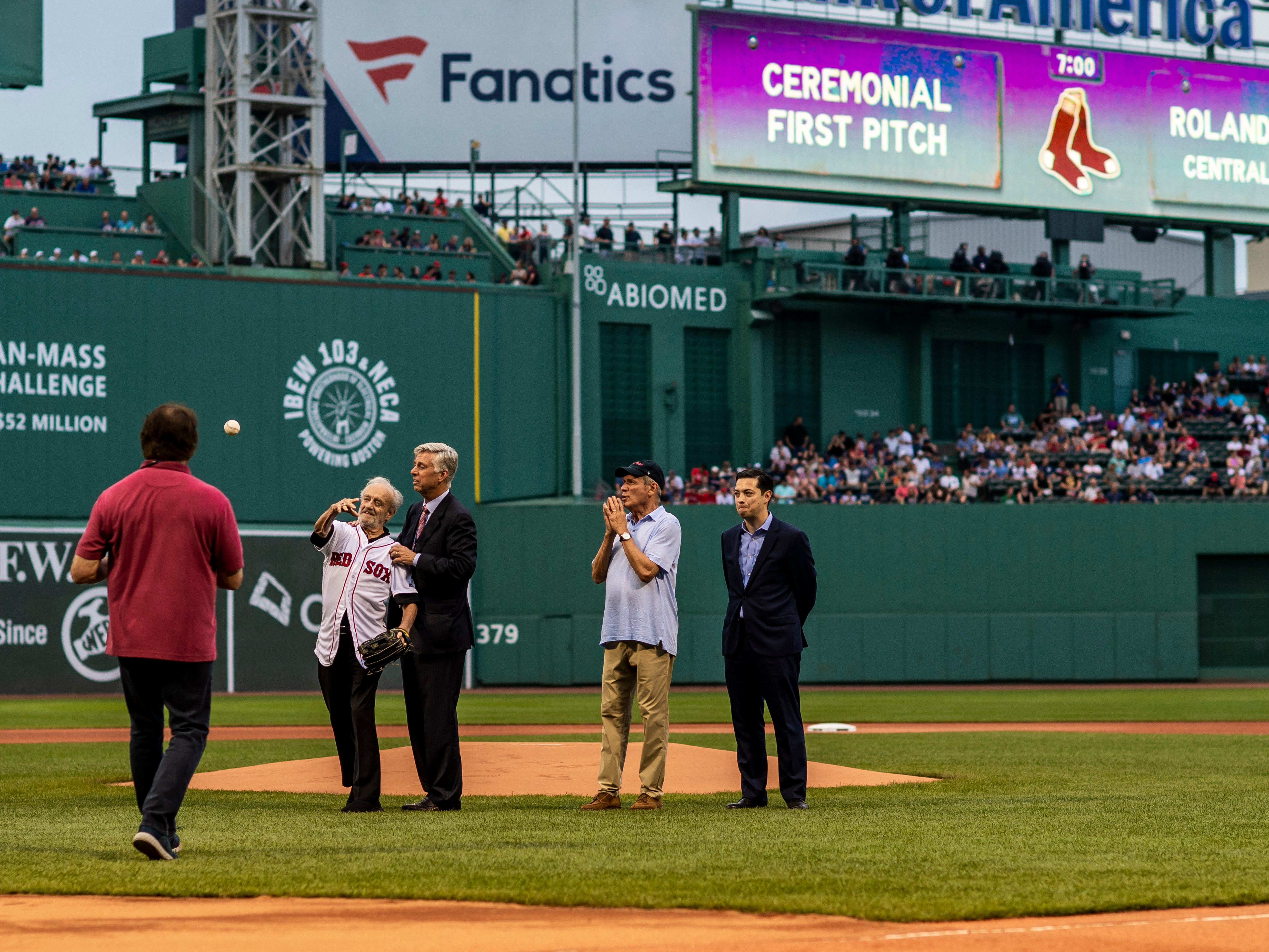 August 2, 2018, Boston, MA: Roland Hemond throws the Ceremonial First Pitch before the Boston Red Sox face the New York Yankees at Fenway Park in Boston, Massachusetts on Thursday, August 2, 2018. (Photo by Matthew Thomas/Boston Red Sox)