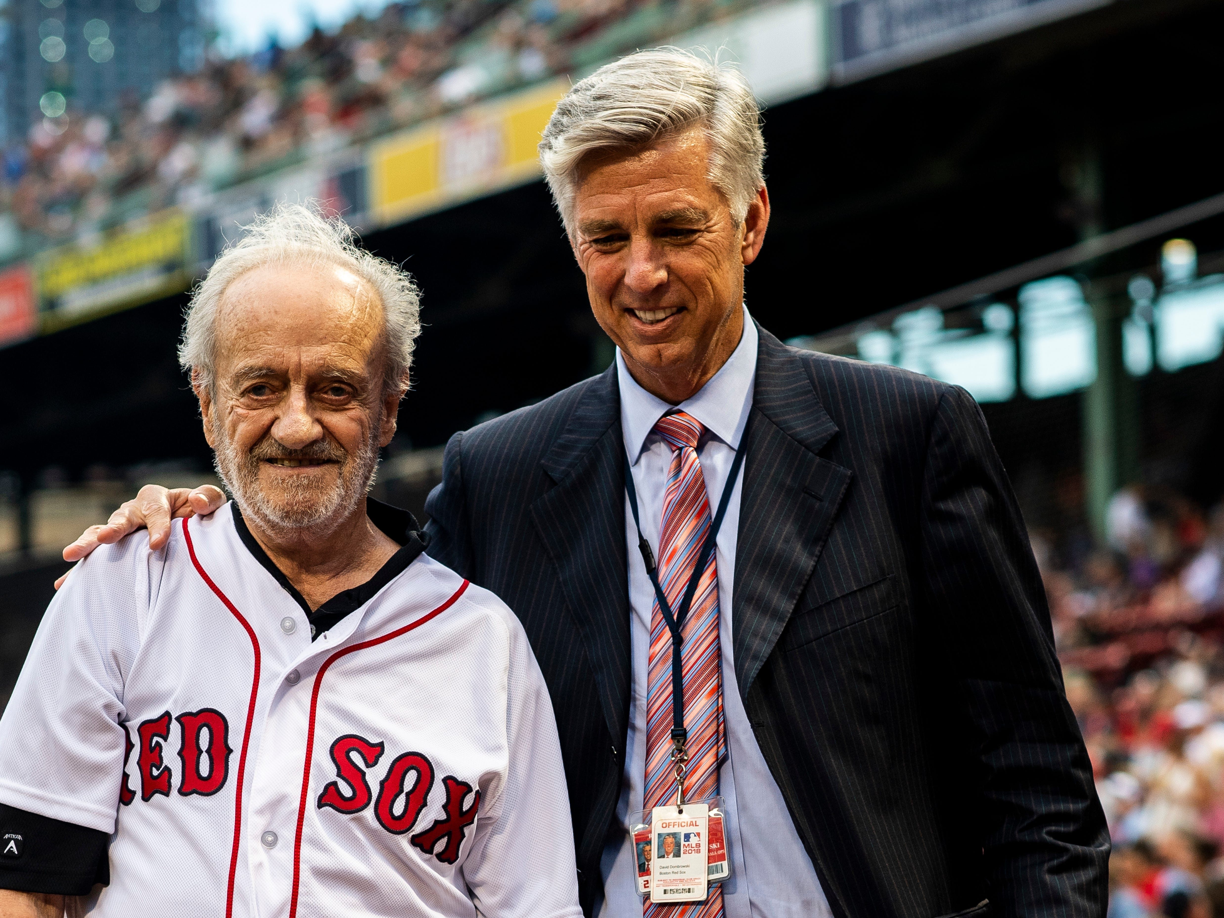 August 2, 2018, Boston, MA: Roland Hemond walks with Boston Red Sox President of Baseball Operations Dave Dombrowskibefore his Ceremonial First Pitch before the Boston Red Sox face the New York Yankees at Fenway Park in Boston, Massachusetts on Thursday, August 2, 2018. (Photo by Matthew Thomas/Boston Red Sox)