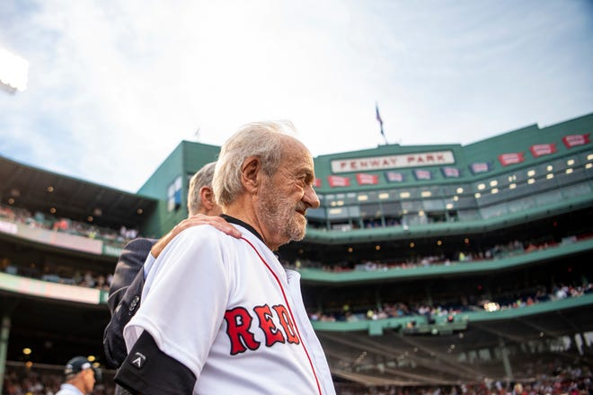 MLB executive Roland Hemond at Boston's Fenway Park before throwing out the ceremonial first pitch on Aug. 2, 2018. Photo by Billie Weiss Boston Red Sox/Getty Images