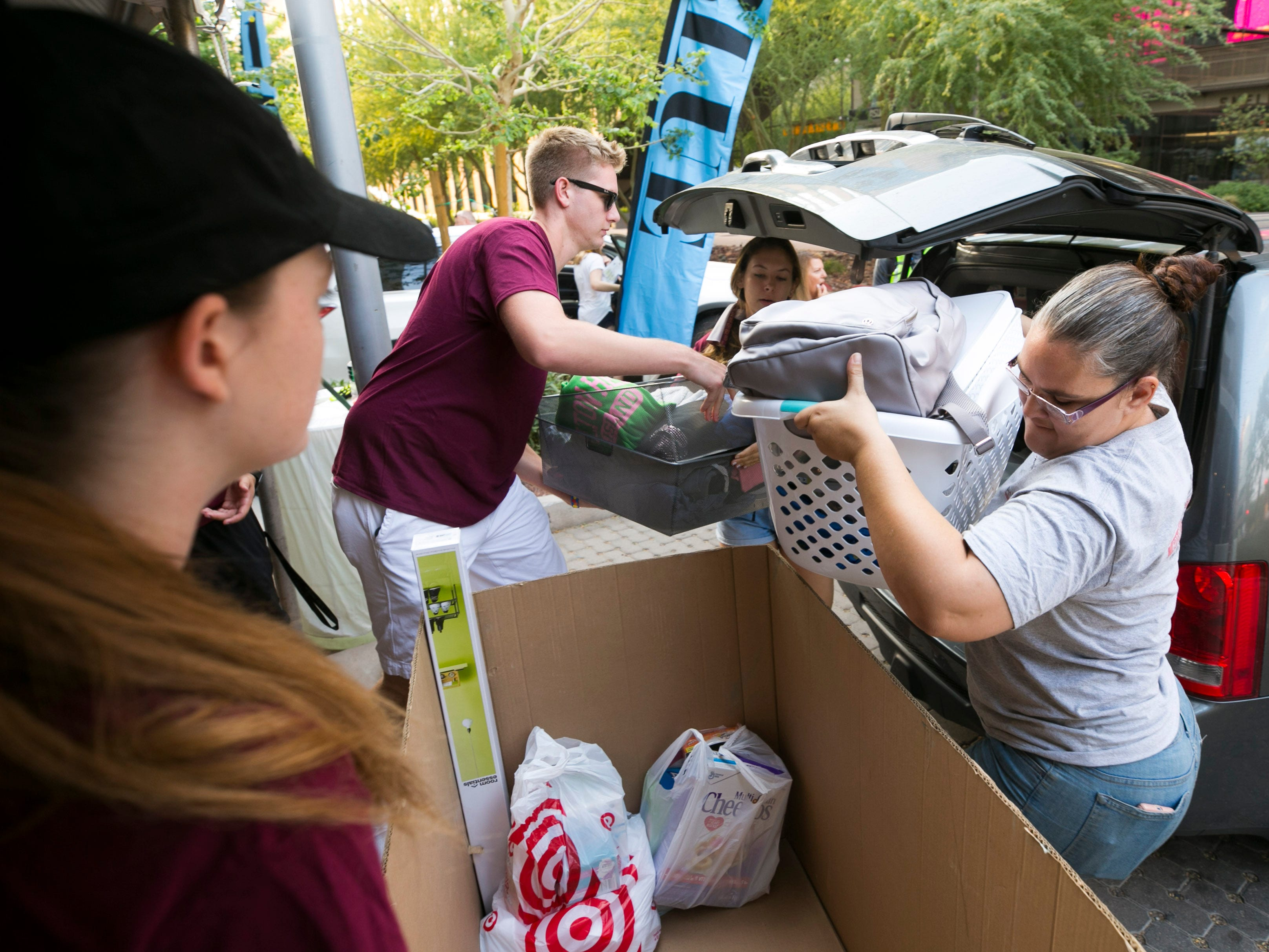 ASU move-in day is underway at the Taylor Place dorm on the ASU downtown Phoenix campus on Aug. 10, 2018.