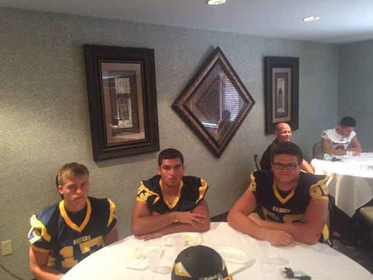 Already with their games faces on are,  from left, Elco's Braden Bohannon, Sam Montijo, and Joe Nelson.