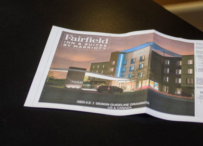 A rendering of the new Fairfield Inn and Suites by Marriott hotel proposed for Richmond's east side is seen on a table following a city Board of Zoning Appeals meeting on Thursday, Aug. 9, 2018.
