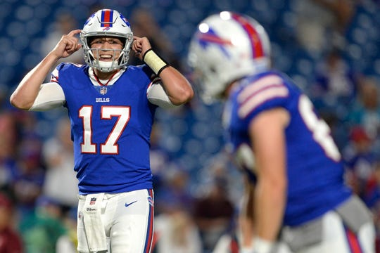 Buffalo Bills quarterback Josh Allen (17) talks to his team during the second half of an NFL football game against the Carolina Panthers, Thursday, Aug. 9, 2018, in Orchard Park, N.Y. (AP Photo/Adrian Kraus)