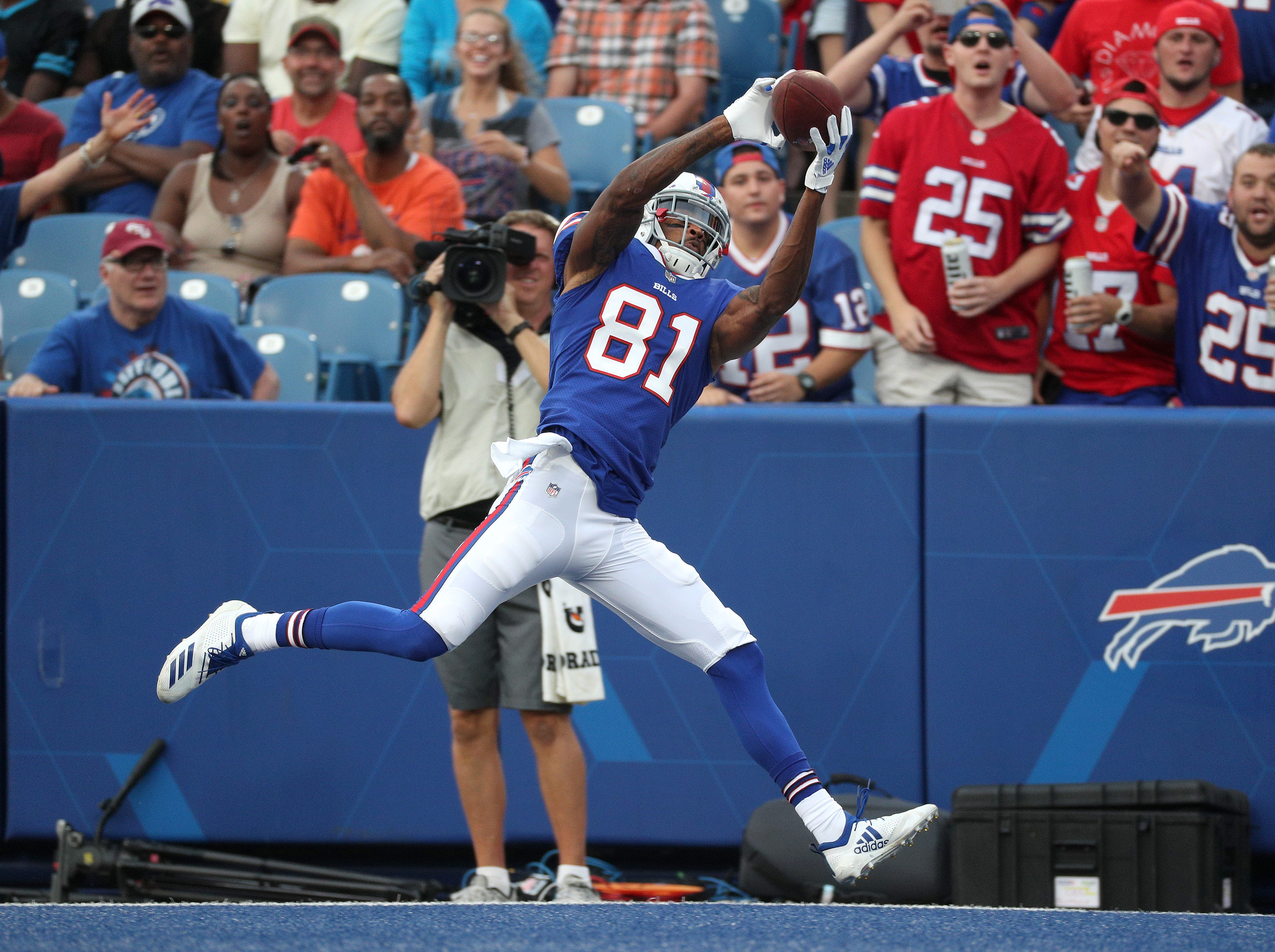 Bills receiver Rod Streater. Makes this touchdown catch that was called back due to a penalty in a 28-23 preseason loss to Carolina.