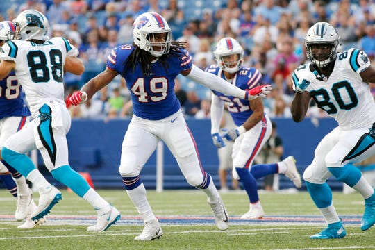 Buffalo Bills linebacker Tremaine Edmunds (49) in action against the Carolina Panthers during the first half of an NFL football game, Thursday, Aug. 9, 2018, in Orchard Park, N.Y. (AP Photo/Jeffrey T. Barnes)
