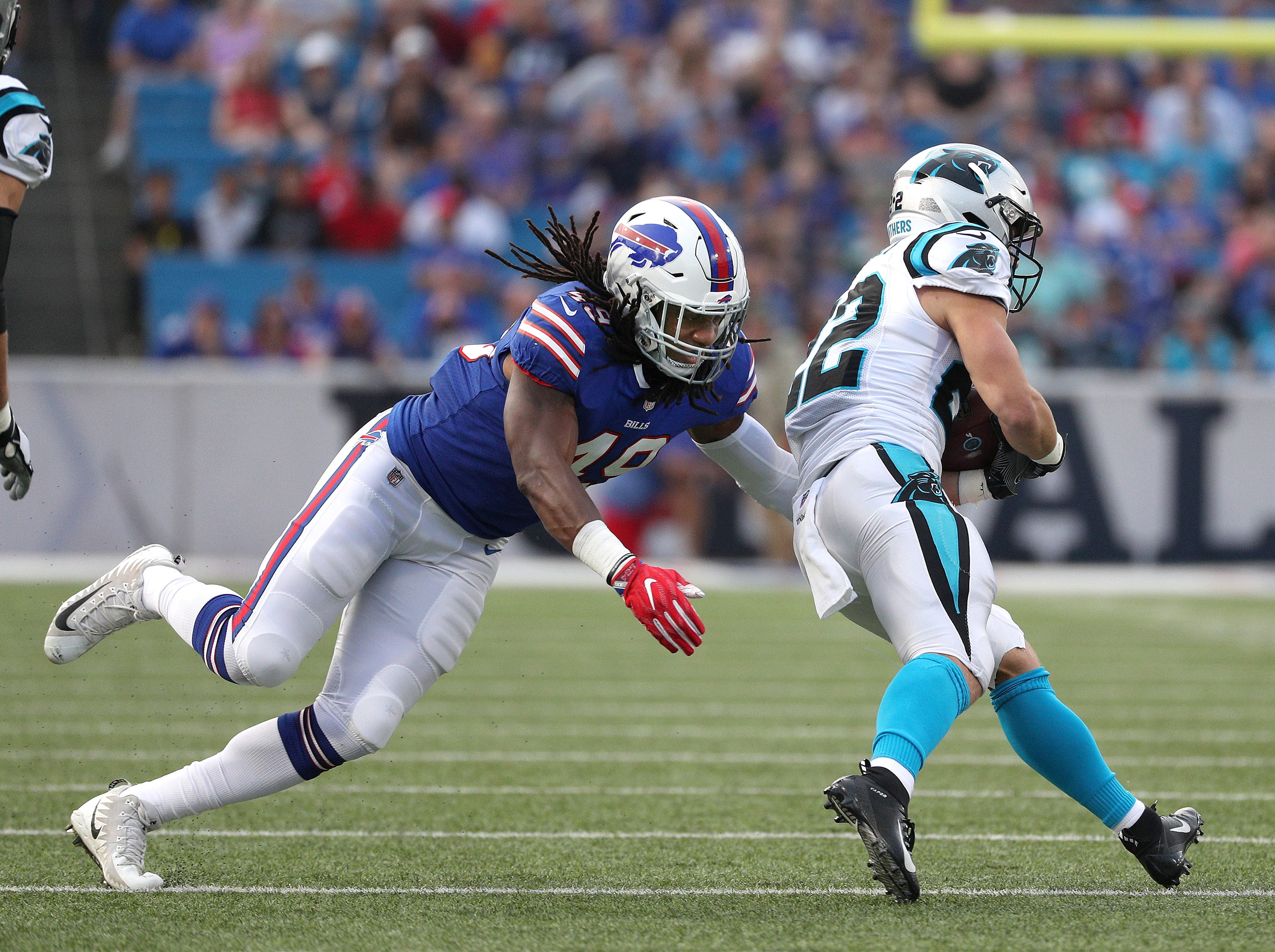 Bills linebacker Tremaine Edmunds looks to make the tackle on Carolina's Christian McCaffrey.