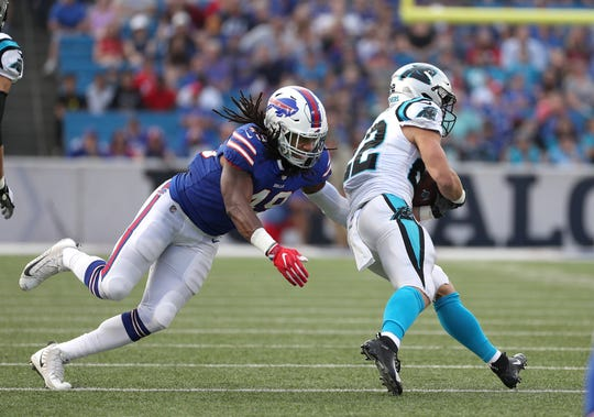 Bills linebacker Tremaine Edmunds looks to make the tackle on Carolina's Christian McCaffrey.