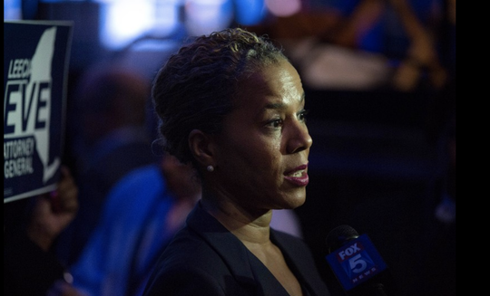 Leecia R. Eve, a former top aide to Hillary Clinton and Gov. Andrew M. Cuomo, delivers remarks to the press during the New York Democratic convention at Hofstra University on May 23, 2018 in Hempstead, New York. Eve is one of four Democratic candidates in the race for attorney general of New York.