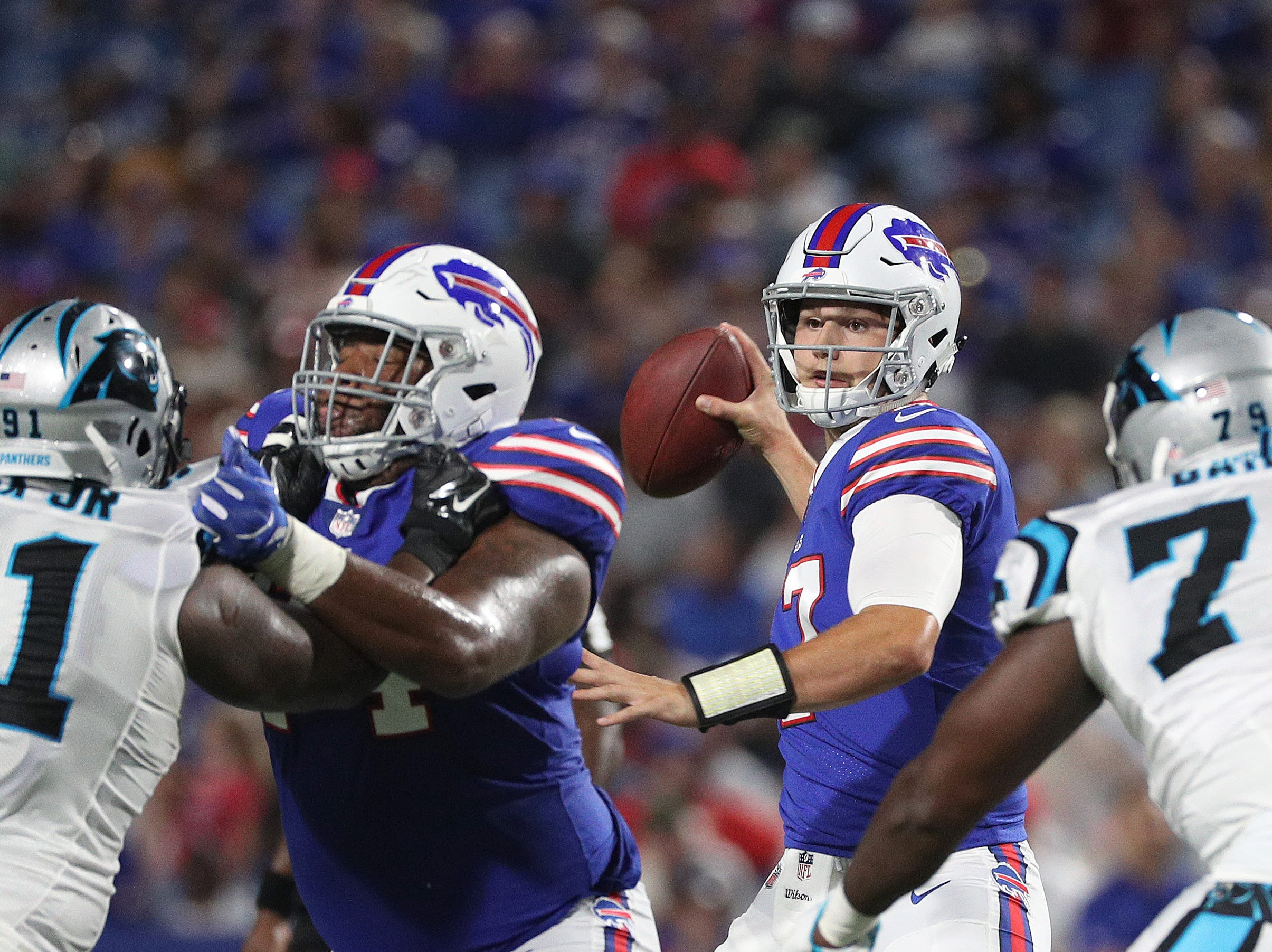 Quarterback Josh Allen stands tall in the pocket against Carolina.